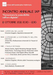 Locandina con il programma dell'Incontro annuale IAP 2021. 12 ottobre dalle 10.30 alle 12.30.